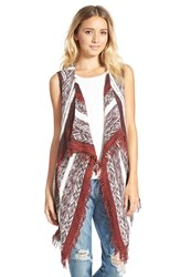 Junior Women's Sun And Shadow Pattern Sleeveless Cardigan Burgundy Fudge Virgo Jacquard
