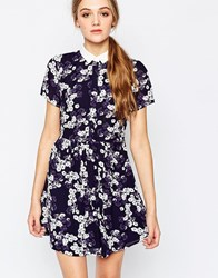 Sugarhill Boutique Daisy Print Shirt Dress Navy