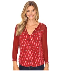 Lucky Brand Border Print Top Red Multi Women's Clothing