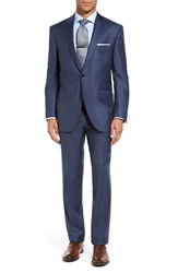 Peter Millar Men's Big And Tall Flynn Classic Fit Wool Suit Blue