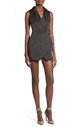 Missguided Satin Lapel Tuxedo Romper Black