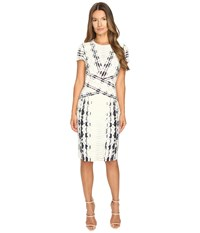 Prabal Gurung Short Sleeve Printed Sheath Dress Ivory Snakeskin Women's Dress White