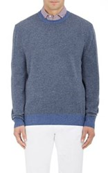Luciano Barbera Men's Cashmere Elbow Patch Sweater Navy