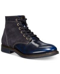 Armani Jeans Suede Patent Boots Men's Shoes Blue
