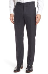 Men's Monte Rosso Flat Front Plaid Wool Trousers Black