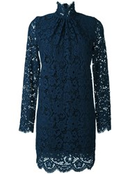 Twin Set Gathered Neck Lace Dress Blue