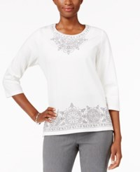 Alfred Dunner Embroidered Beaded Top Ivory