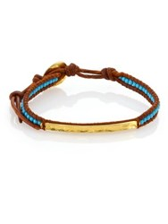 Chan Luu Turquoise And Leather Beaded Bar Bracelet Tan Multi