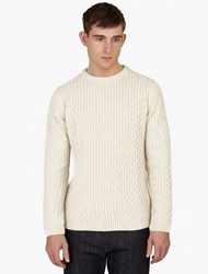 A.P.C. Cream Cable Knit Wool Sweater