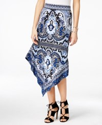 Inc International Concepts Printed Asymmetrical Maxi Skirt Only At Macy's Medley Paisley Blue