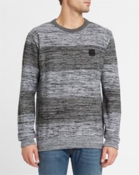 Iriedaily Dark Grey And Black Vegan Vari Block Striped Round Neck Sweater