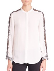The Kooples Crepe And Fancy Lace Blouse