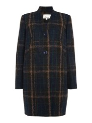Linea Check Detail Cocoon Coat Multi Coloured