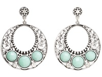 Mandf Western Turquoise Disc Hoop Earrings Silver Turquoise Earring Multi