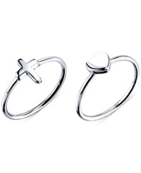 Unwritten Cross And Heart Ring Set In Sterling Silver