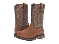 Ariat Workhog Pull On Ct Wp Aged Bark Army Green Women's Work Boots Tan