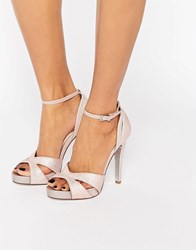 Faith Lindsay Pink Glittery Cut Out Heeled Sandals Pink