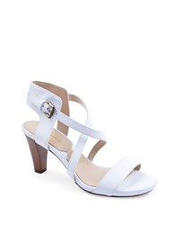 Adrienne Vittadini Briale Strappy Leather Sandals White