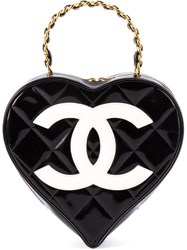Chanel Vintage Logo Heart Clutch Black