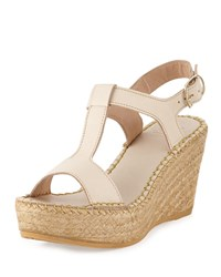 Andre Assous Lemon Leather Wedge Sandal Beige