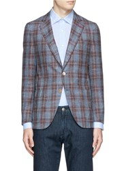 Isaia 'Sailor' Glen Plaid Wool Silk Linen Blazer Blue