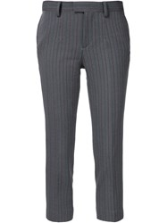 Undercover Striped Cropped Trousers Grey