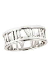 Sterling Forever Sterling Silver Roman Numeral Open Band Metallic