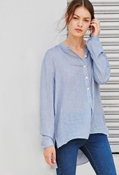 Forever 21 Micro Patterned Popover Shirt Blue Cream