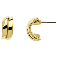 Finesse Gold Plated Wave Stud Earrings Gold