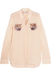 Stella Mccartney Embroidered Silk Crepe De Chine Shirt Ivory