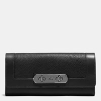Coach Swagger Slim Envelope Wallet In Pebble Leather Dark Gunmetal Black