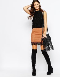 Goldie Simple Things Suedette Skirt With Lace Hem Brown