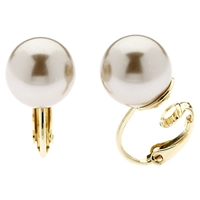 Finesse Classic 12Mm Pearl Clip On Earrings Bronze