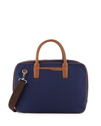 Cole Haan Leather Trim Nylon Zip Around Briefcase Navy Tan