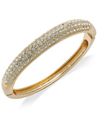 Charter Club Gold Tone Clear Glass Pave Bangle Bracelet