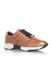 Carvela Kurt Geiger Lacrosse Metallic Trainers Female Bronze