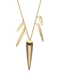 Alexis Bittar Sport Deco Lucite And Crystal Spear Charm Necklace Gold