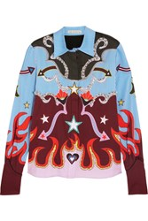 Mary Katrantzou Shane Crystal Embellished Printed Stretch Cotton Shirt Blue