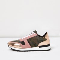 River Island Womens Pink Camo Patent Panel Trainers