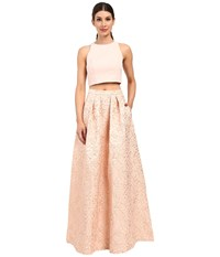 Aidan Mattox Two Piece Brocade Ball Skirt With Solid Halter Top Blush Women's Dress Pink