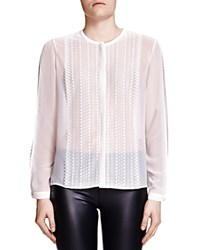 The Kooples Polka Dot Lace And Chiffon Shirt Ecru