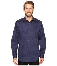 Bugatchi Jiovanni Long Sleeve Woven Shirt Midnight Men's Long Sleeve Button Up Navy