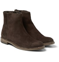 Paul Smith Sullivan Distressed Suede Boots Dark Brown