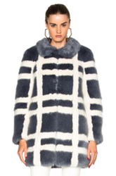 Shrimps Edith Faux Fur Coat In Blue Checkered And Plaid Blue Checkered And Plaid