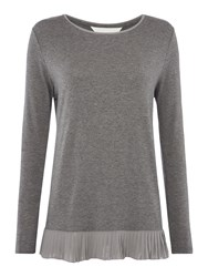 Gray And Willow Pina Pleat Sequin Hem Top Grey Marl