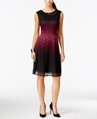 Sandra Darren Petite Lace Ombre Fit And Flare Dress Black Maroon