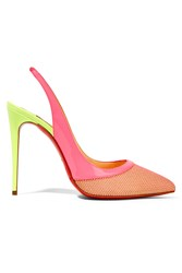 Christian Louboutin Miluna 100 Neon Patent Leather Trimmed Raffia Slingback Pumps