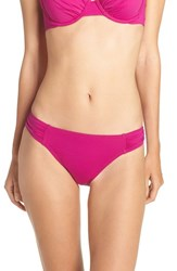 Tommy Bahama Women's Side Shirred Hipster Bikini Bottoms Wild Orchid Pink