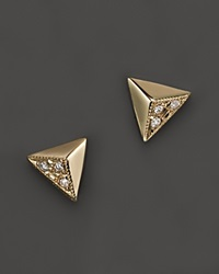 Zoe Chicco 14K Yellow Gold Triangle Pyramid Pave Stud Earrings .03 Ct. T.W. Yellow Gold White Diamonds