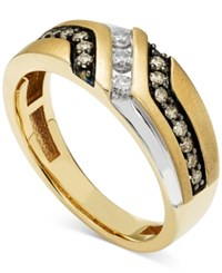 Macy's Men's Diamond Two Tone Ring 1 2 Ct. T.W. In 10K Yellow And White Gold Brown